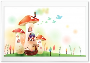 Childhood Fairytales Mushroom House HD Wide Wallpaper for 4K UHD Widescreen desktop & smartphone