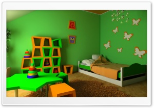 Children Bedroom Green Walls HD Wide Wallpaper for 4K UHD Widescreen desktop & smartphone