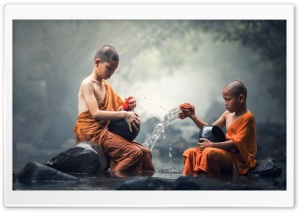 Children Buddhist Monks HD Wide Wallpaper for Widescreen
