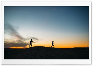 Children, Playing, Running, Sunset, Silhouette HD Wide Wallpaper for 4K UHD Widescreen desktop & smartphone