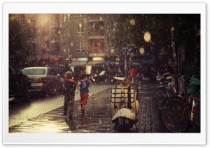 Children Running In The Rain HD Wide Wallpaper for Widescreen