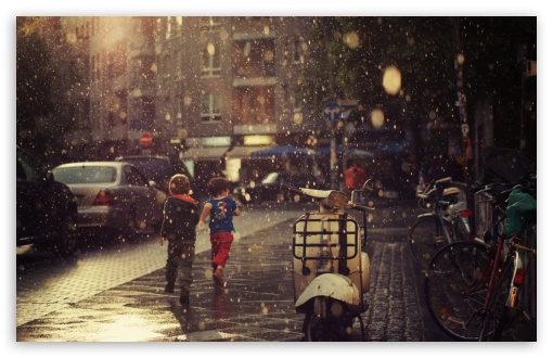 Children Running In The Rain HD wallpaper for Standard 5:4 Fullscreen QSXGA SXGA ; Wide 16:10 5:3 Widescreen WHXGA WQXGA WUXGA WXGA WGA ; HD 16:9 High Definition WQHD QWXGA 1080p 900p 720p QHD nHD ; Other 3:2 DVGA HVGA HQVGA devices ( Apple PowerBook G4 iPhone 4 3G 3GS iPod Touch ) ; Mobile VGA WVGA iPhone iPad PSP Phone - VGA QVGA Smartphone ( PocketPC GPS iPod Zune BlackBerry HTC Samsung LG Nokia Eten Asus ) WVGA WQVGA Smartphone ( HTC Samsung Sony Ericsson LG Vertu MIO ) HVGA Smartphone ( Apple iPhone iPod BlackBerry HTC Samsung Nokia ) Sony PSP Zune HD Zen ; Tablet 2 Android ;