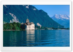 Chillon Castle And The Alps HD Wide Wallpaper for 4K UHD Widescreen desktop & smartphone