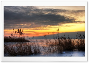 Chilly Sunset On Iced Over Utah Lake HD Wide Wallpaper for Widescreen