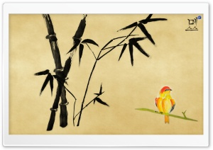 Chinese Bird Painting HD Wide Wallpaper for Widescreen
