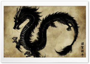 Chinese Black Dragon HD Wide Wallpaper for 4K UHD Widescreen desktop & smartphone