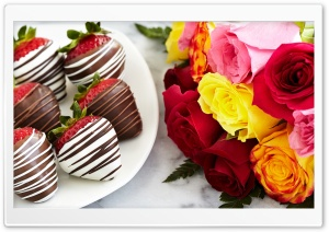 Chocolate Dipped Strawberries and Colorful Roses HD Wide Wallpaper for 4K UHD Widescreen desktop & smartphone
