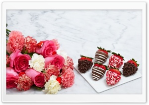 Chocolate Dipped Strawberries and Flowers HD Wide Wallpaper for Widescreen