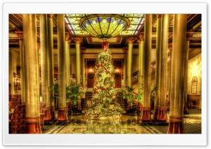Christmas - Driskill Hotel Lobby, Texas HD Wide Wallpaper for Widescreen