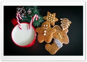 Christmas Cookies and Milk for Santa Claus HD Wide Wallpaper for 4K UHD Widescreen desktop & smartphone