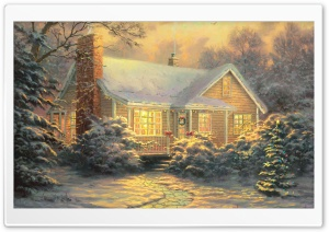 Christmas Cottage by Thomas Kinkade HD Wide Wallpaper for Widescreen