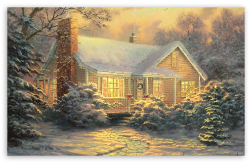 Christmas Cottage by Thomas Kinkade HD wallpaper for Standard 4:3 5:4 Fullscreen UXGA XGA SVGA QSXGA SXGA ; Wide 16:10 5:3 Widescreen WHXGA WQXGA WUXGA WXGA WGA ; HD 16:9 High Definition WQHD QWXGA 1080p 900p 720p QHD nHD ; Other 3:2 DVGA HVGA HQVGA devices ( Apple PowerBook G4 iPhone 4 3G 3GS iPod Touch ) ; Mobile VGA WVGA iPhone iPad PSP Phone - VGA QVGA Smartphone ( PocketPC GPS iPod Zune BlackBerry HTC Samsung LG Nokia Eten Asus ) WVGA WQVGA Smartphone ( HTC Samsung Sony Ericsson LG Vertu MIO ) HVGA Smartphone ( Apple iPhone iPod BlackBerry HTC Samsung Nokia ) Sony PSP Zune HD Zen ; Tablet 2 Android ; Dual 5:4 QSXGA SXGA ;