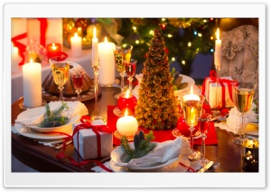 Christmas Dinner Table HD Wide Wallpaper for 4K UHD Widescreen desktop & smartphone
