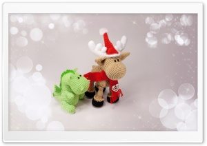 Christmas Dino and Reindeer HD Wide Wallpaper for Widescreen