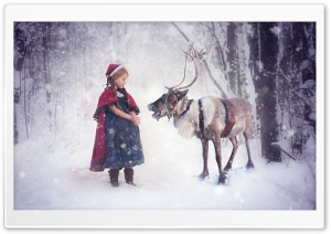 Christmas Elf and Reindeer HD Wide Wallpaper for Widescreen