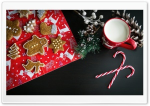 Christmas Gingerbread Biscuits, Milk Mug, Candycanes HD Wide Wallpaper for Widescreen
