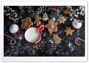 Christmas Gingerbread Cookies and Milk HD Wide Wallpaper for Widescreen