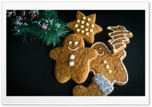 Christmas Gingerbread Man Cute HD Wide Wallpaper for Widescreen