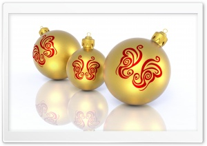 Christmas Golden Balls HD Wide Wallpaper for Widescreen