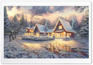 Christmas Lodge by Thomas Kinkade HD Wide Wallpaper for 4K UHD Widescreen desktop & smartphone