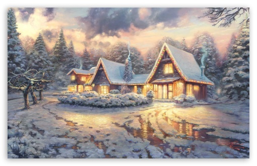 Christmas Lodge by Thomas Kinkade HD wallpaper for Standard 4:3 5:4 Fullscreen UXGA XGA SVGA QSXGA SXGA ; Wide 16:10 5:3 Widescreen WHXGA WQXGA WUXGA WXGA WGA ; HD 16:9 High Definition WQHD QWXGA 1080p 900p 720p QHD nHD ; Other 3:2 DVGA HVGA HQVGA devices ( Apple PowerBook G4 iPhone 4 3G 3GS iPod Touch ) ; Mobile VGA WVGA iPhone iPad PSP Phone - VGA QVGA Smartphone ( PocketPC GPS iPod Zune BlackBerry HTC Samsung LG Nokia Eten Asus ) WVGA WQVGA Smartphone ( HTC Samsung Sony Ericsson LG Vertu MIO ) HVGA Smartphone ( Apple iPhone iPod BlackBerry HTC Samsung Nokia ) Sony PSP Zune HD Zen ; Dual 4:3 5:4 16:10 5:3 UXGA XGA SVGA QSXGA SXGA WHXGA WQXGA WUXGA WXGA WGA ;