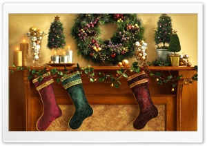 Christmas Mantle With Stockings HD Wide Wallpaper for Widescreen