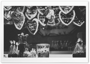 Christmas Market Black And White HD Wide Wallpaper for Widescreen