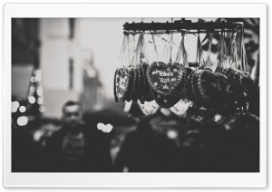 Christmas Market Monochrome HD Wide Wallpaper for Widescreen