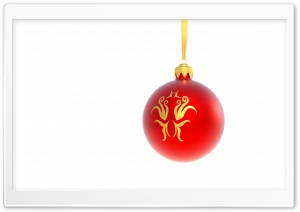 Christmas Red Ball on White Background HD Wide Wallpaper for Widescreen