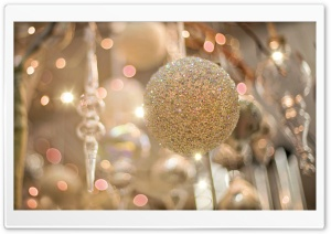 Christmas Silver Ornaments Bokeh Ultra HD Wallpaper for 4K UHD Widescreen desktop, tablet & smartphone