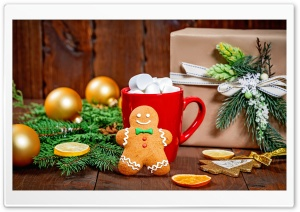 Christmas Sweets, Gingerbread Man, Hot Chocolate, Gift, Fir Tree Branches Ultra HD Wallpaper for 4K UHD Widescreen desktop, tablet & smartphone