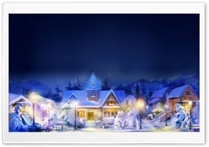 Christmas Town Scene HD Wide Wallpaper for Widescreen