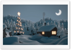 Christmas Tree House HD Wide Wallpaper for Widescreen