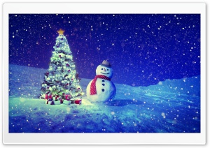 Christmas Tree, Snowman, Winter Landscape HD Wide Wallpaper for Widescreen
