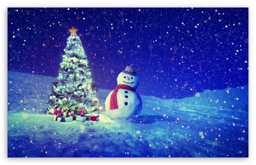 Christmas Tree Snowman Winter Landscape Ultra Hd Desktop Background Wallpaper For 4k Uhd Tv Widescreen Ultrawide Desktop Laptop Multi Display Dual Monitor Tablet Smartphone