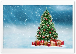 Christmas Trees Decorated In Red And Gold HD Wide Wallpaper for Widescreen