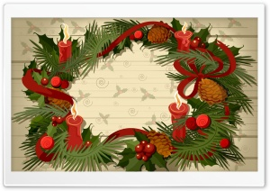 Christmas Wreath Vector HD Wide Wallpaper for Widescreen