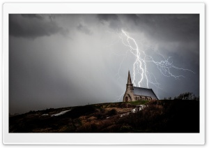 Church Night Storm Lightning HD Wide Wallpaper for Widescreen
