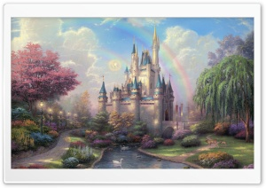 Cinderella's Castle by Thomas Kinkade HD Wide Wallpaper for 4K UHD Widescreen desktop & smartphone