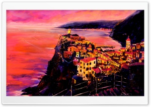 Cinque Terre Oil Painting HD Wide Wallpaper for 4K UHD Widescreen desktop & smartphone