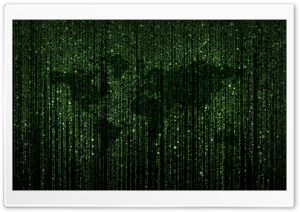 Circle Packing Green Matrix Code World Map HD Wide Wallpaper for Widescreen