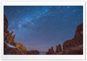 Circle Star Trails, Arches National Park, Utah HD Wide Wallpaper for Widescreen