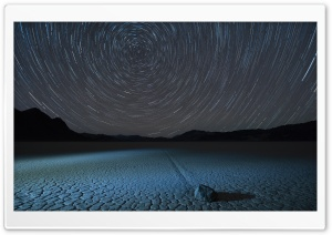 Circle Star Trails, Racetrack Playa, Sailing stone HD Wide Wallpaper for Widescreen