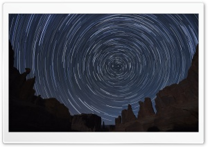 Circle Star Trails Sky, Arches National Park, Utah HD Wide Wallpaper for 4K UHD Widescreen desktop & smartphone