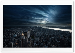City Aerial View Night HD Wide Wallpaper for 4K UHD Widescreen desktop & smartphone