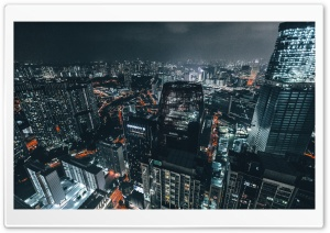 City at Night Panoramic View HD Wide Wallpaper for Widescreen