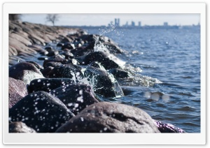 City Lake Shore HD Wide Wallpaper for 4K UHD Widescreen desktop & smartphone