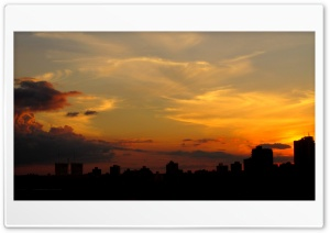 City Silhouette At Sunset HD Wide Wallpaper for Widescreen
