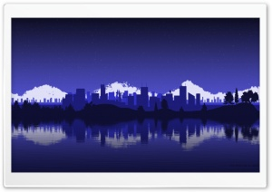 City Skyline Silhouette HD Wide Wallpaper for Widescreen