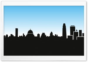 City Skyline Silhouette Cartoon HD Wide Wallpaper for 4K UHD Widescreen desktop & smartphone